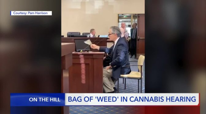 Anti-marijuana activist brings a bag of 'weed' to a hearing at the Utah State Legislature